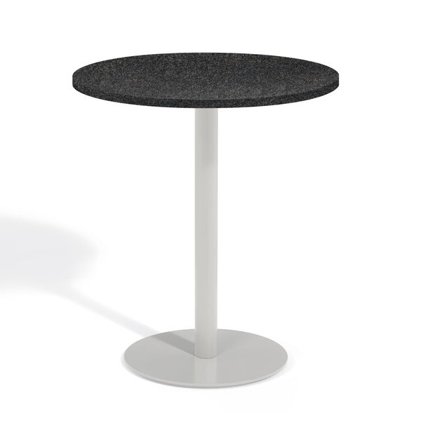 Oxford Garden Travira 36-inch Round Lite-Core Granite Charcoal Bar Table with Powder Coated Steel Frame