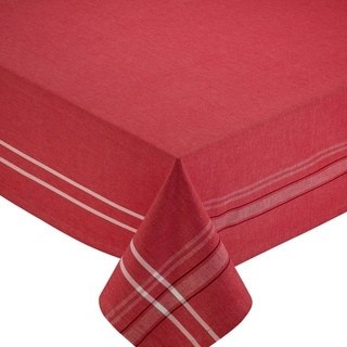 Tango Red Cotton 60-inch x 84-inch French Chambray Tablecloth