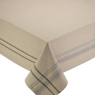 Natural French Stripe Tablecloth - 60 x 84""