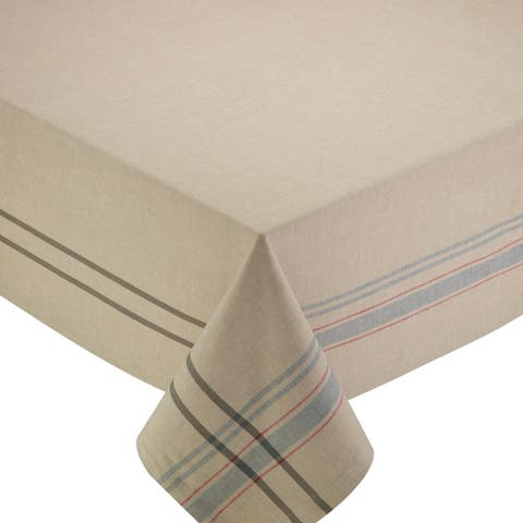 """DII Natural French Stripe Tablecloth - 60 x 104"""""""