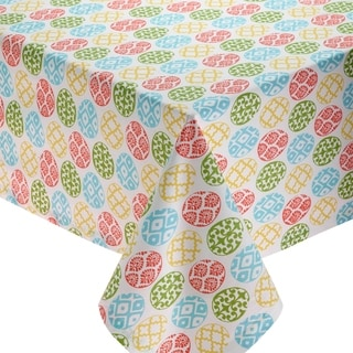 Multicolor Cotton 60-inch x 84-inch Lattice Egg Printed Tablecloth