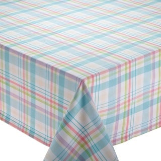 Cotton Easter Basket Plaid 70 Inch Round Tablecloth