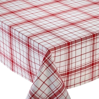 Down Home Red/White Cotton Plaid Tablecloth