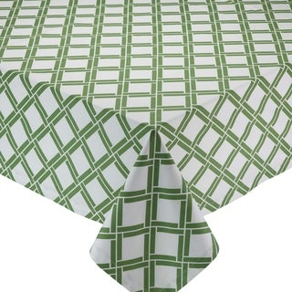 Green/White Cotton Bamboo Lattice Printed Tablecloth