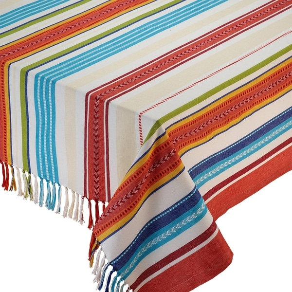 Baja Multicolor Cotton 52 Inch X 52 Inch Striped Fringed Tablecloth