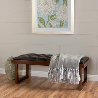Bayer Tufted Faux Leather Bench by Christopher Knight Home