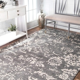 nuLOOM Transitional Damask Grey Rug (8' x 10')