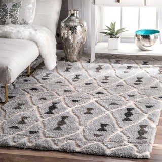 nuLOOM Soft and Plush Moroccan Diamond Grey Area Rug (5'3 x 7'6)