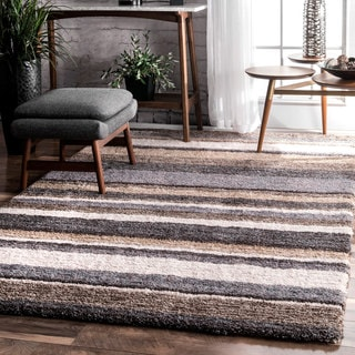 nuLOOM Handmade Striped Soft Plush Beige Shag Rug (5' x 8')