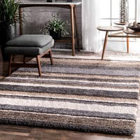 Havenside Home Siesta Handmade Striped Soft Plush Beige Shag Rug (8' x 10')
