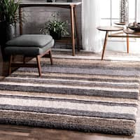 Havenside Home Siesta Handmade Striped Soft Plush Beige Shag Rug - 8' x 10'