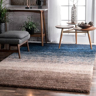 nuLOOM Handmade Ombre Striped Soft Plush Shag Rug (8' x 10')