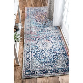 nuLOOM Distressed Vintage Faded Floral Runner Rug (2'8 x 8')