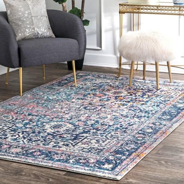 shop nuloom distressed vintage faded floral rug 8 39 x 10 39 8 39 x 10 39 on sale free shipping. Black Bedroom Furniture Sets. Home Design Ideas