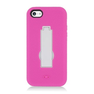 Insten Hot Pink/ White Soft Silicone/ PC Dual Layer Hybrid Rubber Case Cover with Stand For Apple iPhone 5C