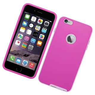 Insten Hot Pink/ White TPU Rubber/ PC Case Cover For Apple iPhone 6 Plus/ 6s Plus