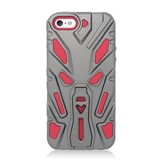 Insten Silver/ Red Hard PC/ Silicone Dual Layer Hybrid Rubberized Matte Case Cover with Stand For Apple iPhone 5/ 5S/ SE