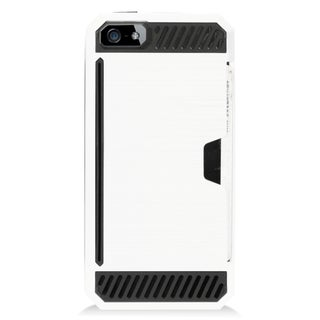 Insten White/ Black Hard Snap-on Dual Layer Hybrid Case Cover For Apple iPhone 5/ 5S/ SE