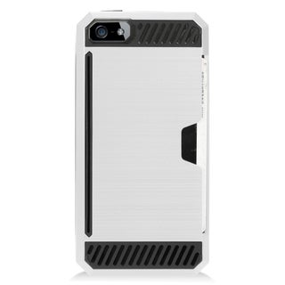 Insten Silver/ Black Hard Snap-on Dual Layer Hybrid Case Cover For Apple iPhone 5/ 5S/ SE