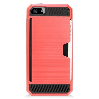 Insten Red/ Black Hard Snap-on Dual Layer Hybrid Case Cover For Apple iPhone 5/ 5S/ SE