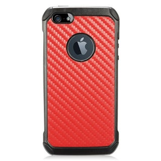 Insten Red/ Black Carbon Fiber Hard Snap-on Dual Layer Hybrid Case Cover For Apple iPhone 5/ 5S/ SE