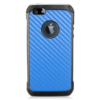 Insten Blue/ Black Carbon Fiber Hard Snap-on Dual Layer Hybrid Case Cover For Apple iPhone 5/ 5S/ SE
