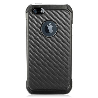 Insten Black Carbon Fiber Hard Snap-on Dual Layer Hybrid Case Cover For Apple iPhone 5/ 5S/ SE