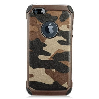 Insten Brown/ Green Camouflage Hard Snap-on Dual Layer Hybrid Case Cover For Apple iPhone 5/ 5S/ SE