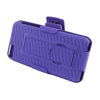 Insten Purple Hard Snap-on Rubberized Matte Case Cover with Stand/ Holster For Apple iPhone 5C