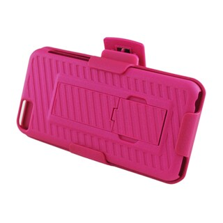 Insten Hot Pink Hard Snap-on Rubberized Matte Case Cover with Stand/ Holster For Apple iPhone 5C