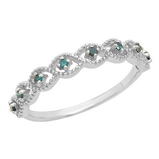 Sterling Silver 1/10ct TDW Round Blue Diamond Wedding Stackable Ring (I2-I3)