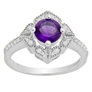 14k Gold 1 1/10ct TW Round Amethyst and Diamond Vintage Bridal Ring (I-J, I1-I2)
