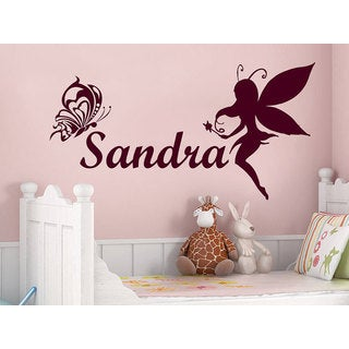 Girl Name Fairy Butterfly Sticker Personalized Name Nursery Baby Kids Custom Name Sticker Decall siz