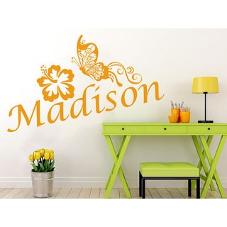 Girl Name Butterfly Flower Sticker Personalized Name Nursery Custom Name Sticker Decall size 44x60 C