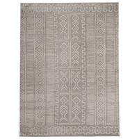 "Jasmin Collection Grey/Ivory Polypropylene Moroccan Trellis Area Rug - 7'10"" x 9'10"""