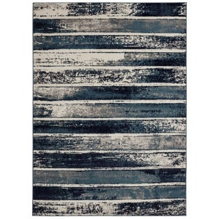 Jasmin Collection Stripes Ivory and Navy Area Rug (7'10 x 9'10)