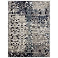 "Jasmin Collection Ivory/Navy Polypropylene Floral Area Rug - 7'10"" x 9'10"""
