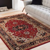 "Eleanor Red & Black Updated Traditional Persian Area Rug - 5'3"" x 7'3"""