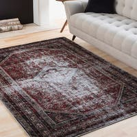Julia Grey & Red Distressed Vintage Medallion Area Rug (5'3 x 7'3)