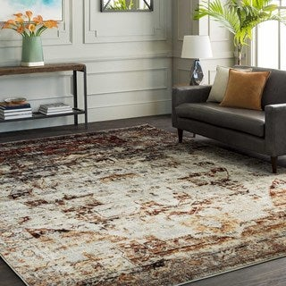 """The Curated Nomad Peoria Red and Grey Faded Vintage Medallion Area Rug - 5'3"""" x 7'3"""""""