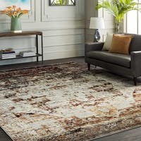 The Curated Nomad Peoria Red and Grey Faded Vintage Medallion Area Rug - 5'3 x 7'3