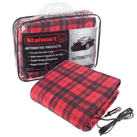 Stalwart 12 Volt Red Plaid Electric Blanket for Automobile