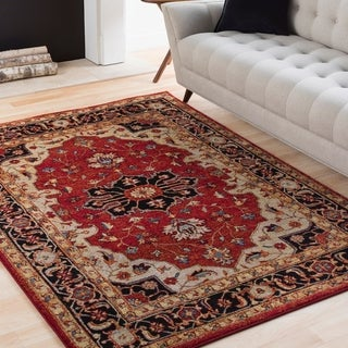 """Eleanor Red & Black Updated Traditional Persian Area Rug - 6'7"""" x 9'6"""""""