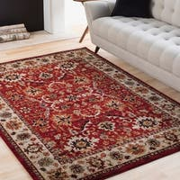 Isabelle Red & Ivory Vintage Traditional Area Rug - 3'11 x 5'7