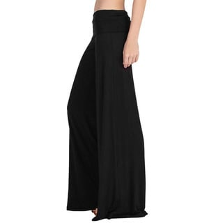 JED Women's Foldover Waist Stretchy Rayon & Spandex Wide Leg Palazzo Pants