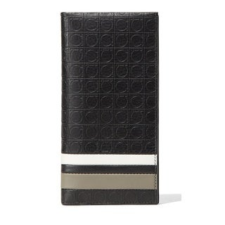 Salvatore Ferragamo Black Leather Gancio Travel Wallet