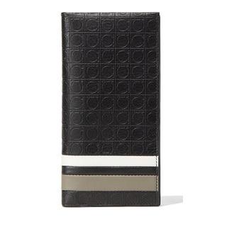 Salvatore Ferragamo Black Leather Gancio Travel Wallet