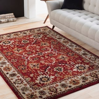 "Isabelle Red & Ivory Vintage Traditional Area Rug - 6'7"" x 9'6"""