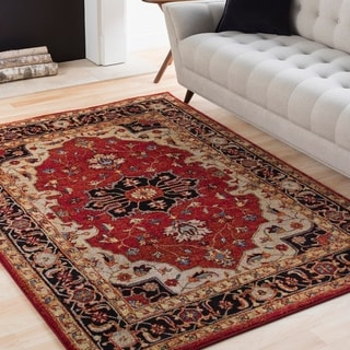 """Eleanor Red & Black Updated Traditional Persian Area Rug - 7'10"""" x 10'6"""""""