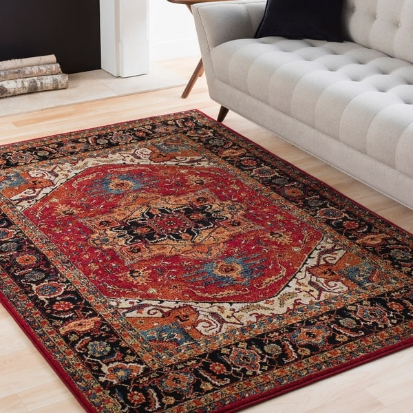 Anna Red & Dark Blue Updated Traditional Area Rug - 2' X 3'